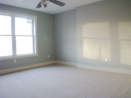 Bedroom in the lower level with lighted ceiling fan