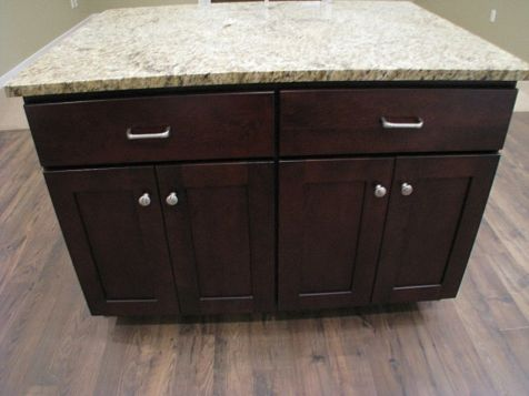 Center island with storage drawers & shelves.