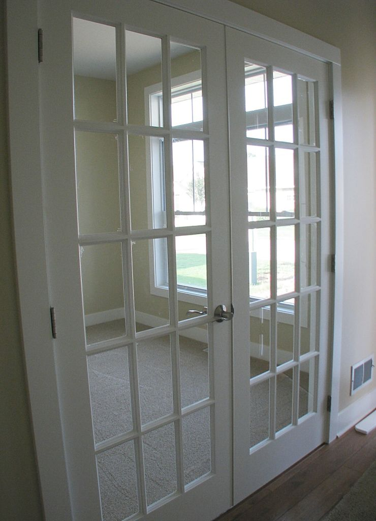 2502 Glass panel double French doors open to office
