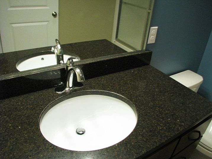 2506 Lower level full bath vanity with high rise faucet