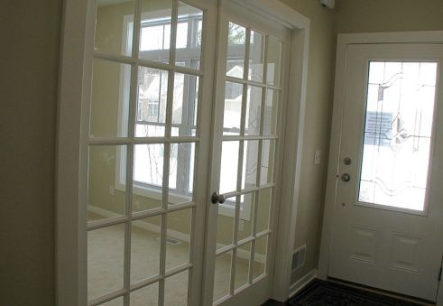 2518 Glass panel French doors to flex room