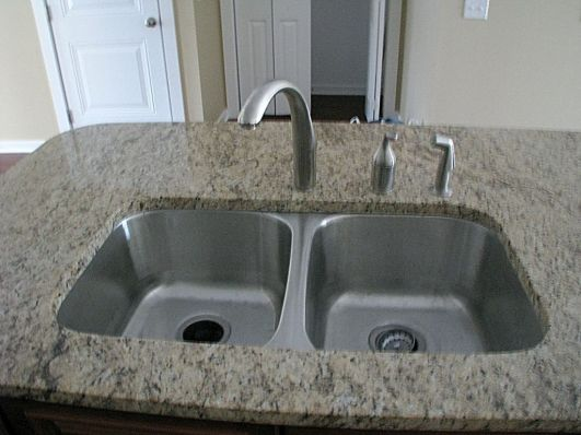 2419 double sink with high rise faucet in center island