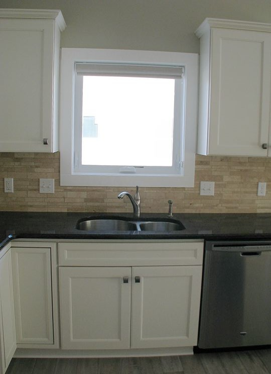 Kitchen sink with high rise brushed nickel faucet