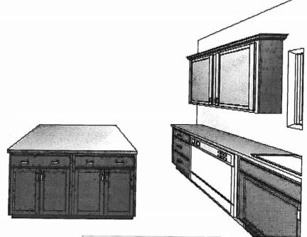 Artists Drawings of Kitchen Center Island at Sawgrass Condos in Holland, MI