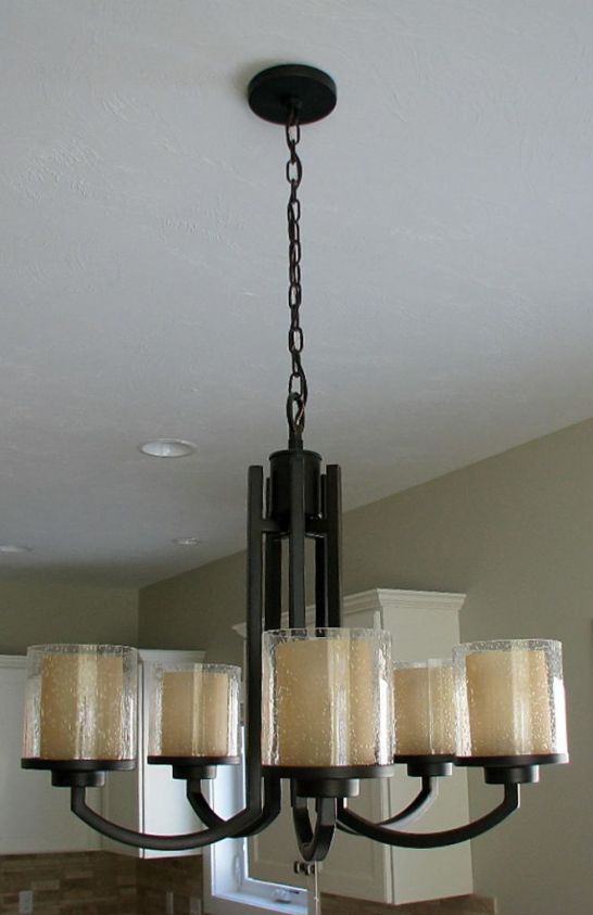 Close up of chandelier in dining area