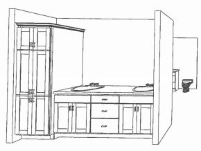 Artists Drawings of Master Bath Cabinets at Sawgrass Condos in Holland, MI