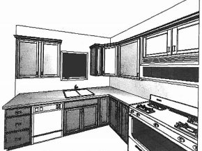 Artists Drawings of Kitchen at Sawgrass Condos in Holland, MI