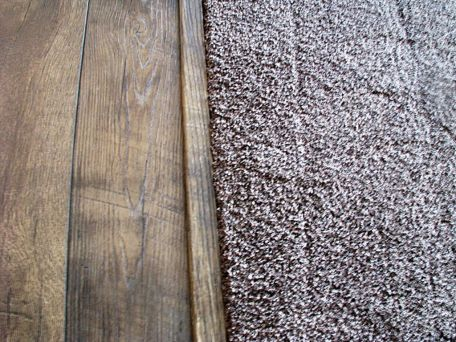 Where laminate floor meets living room carpet.