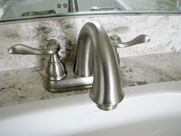 Master bath-sink-brushed nickle faucet