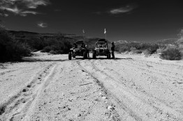 Our vehicles on a desert wash