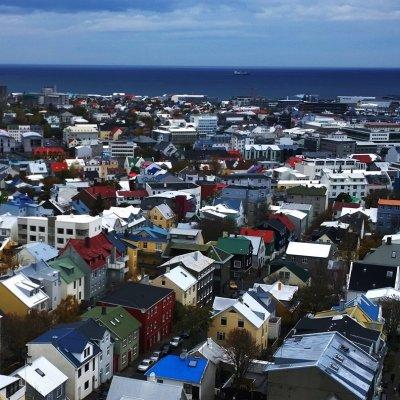 Colourful city as seen from Hallgrimskirkja