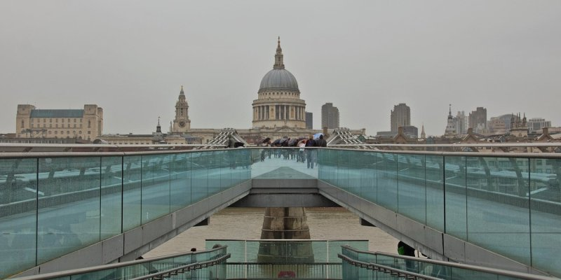 Looking back at St. Paul's from the Millenium Bridge