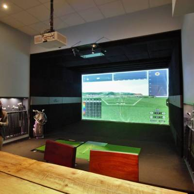Golf Simulator in the gym area