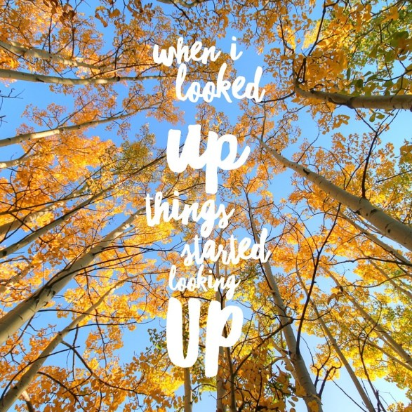 WHen I looked up, things started looking up