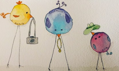 Silly birds watercolor