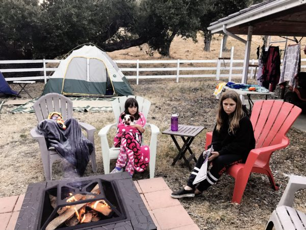 Getting ready for the camp fire at Camp Grandma 2019