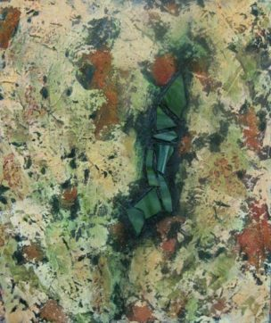"""Abstract in Green and Iron Oxide with stained glass, acrylic on canvas with stained glass, 20"""" x 24"""", 2010"""
