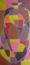 """Abstracted urns, acrylic on canvas 24"""" x 48"""", 2011"""