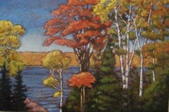"Along Drag Lake in Autumn, acrylic on texturized canvas, 24 x 36"", 2011"