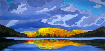 "Autumn Splendour on Portage Lake, acrylic on canvas, 30 x 60"", 2012 SOLD"