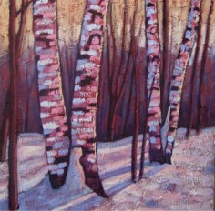 """Backlit Birches in Winter, 20"""" x 20"""", acrylic on texturized canvas, 2011 SOLD"""