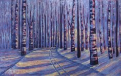 "Birches in Blue, 30"" x 48"", acrylic on texturized canvas, 2011"