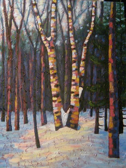 "Birch clump dancing, acrylic on texturized canvas, 40 x 30"", 2011"