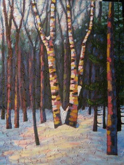 "Birch clump dancing, acrylic on texturized canvas, 40 x 30"", 2011"