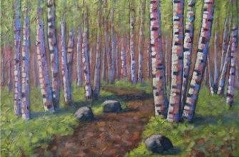 """Path through the birches, 24"""" x 36"""", acrylic on texturized canvas, 2011"""