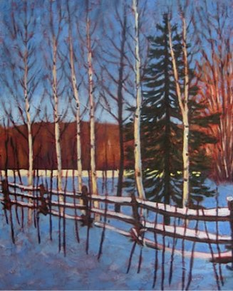 "Birches Along Rail Fence in Winter, 20"" x 24"", acrylic on texturized canvas, 2011"