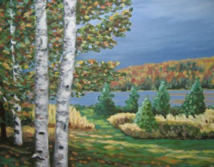 "Birches on Portage Lake, acrylic on canvas, 16"" x 20"", 2007"