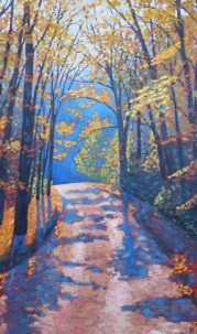 "Boice Bradley Road in Autumn, acrylic on texturized canvas, 24"" x 40"""