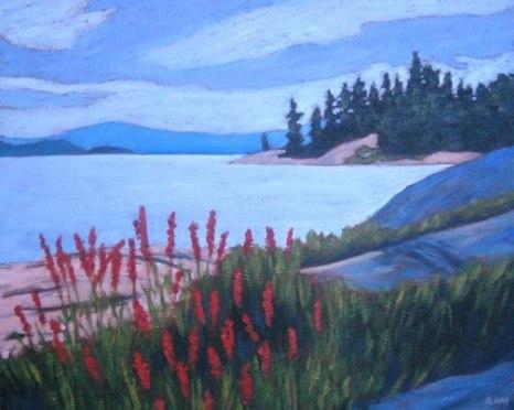"""Cardinal Flowers, Georgian Bay, acrylic on texturized canvas, 14"""" x 18"""" SOLD"""