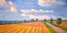 "Dutch Line facing south, Huron County, acrylic on texturized canvas, 24 x 48"", 2012"