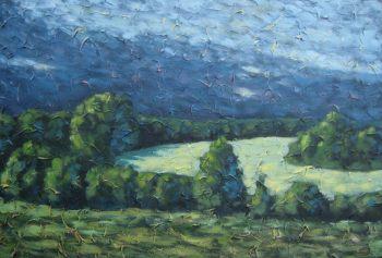 "The Field behind my house, acrylic on texturized canvas, 24"" x 36"", 2009"