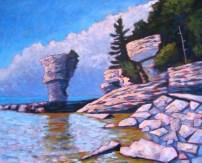 """Flower Pot Island, acrylic on texturized canvas, 24 x 30"""", 2012"""