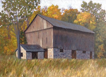 Old Barn near Haliburton, acrylic on texturized canvas, 32 X 24""