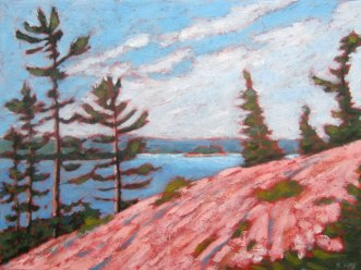 "Georgian Bay sketch, acrylic on texturized canvas, 12"" x 16"""
