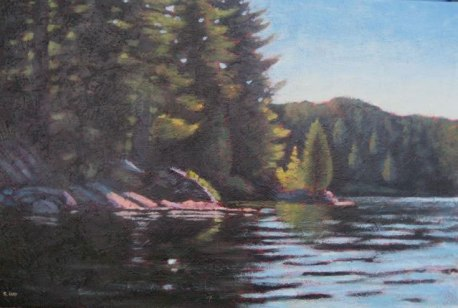 "Haliburton Moment, acrylic on texturized canvas, 24"" x 36"", 2011"