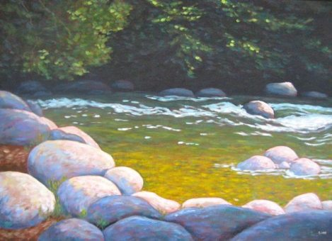 "Tranquil spot on the Gull River, acrylic on canvas 26"" x 36"", SOLD"