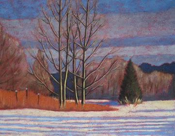 "Winter Scene Along Lake Kashagawigamog, 16"" x 20"", acrylic on texturized canvas, 2011 SOLD"