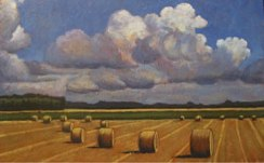 """Round Bales in Field, 30"""" x 48"""", acrylic on texturized canvas, SOLD"""