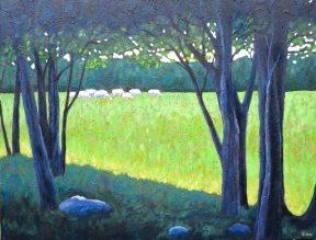 "Cattle grazing near Benmiller, acrylic on texturized canvas, 26"" x 34"""