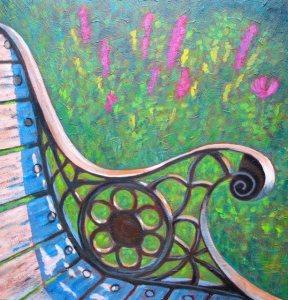 "Park Bench at Benmiller Inn (before tornado), acrylic on texturized canvas, 24"" x 24"""