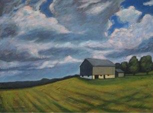 "Rural Landscape, 30"" x 40"", acrylic on texturized canvas, 2011"