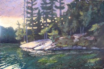 "Lake St. Norah, Haliburton, acrylic on texturized canvas, 24"" x 36"", 2010 SOLD"