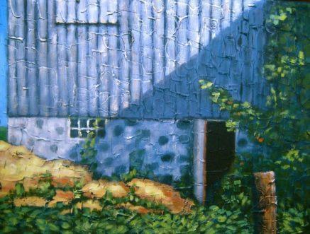 """Old Barn in Shadow, acrylic on canvas, 18"""" x 24"""", 2008"""