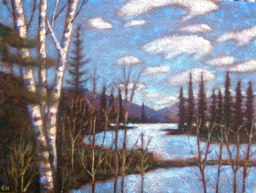 "Portage Lake from Beaver Dam, acrylic on texturized canvas, 16"" x 20"", 2011"