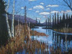 "Portage Lake in April, acrylic on texturized canvas, 30"" x 40"", 2009 SOLD"
