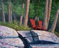 "Red Chairs, Acrylic on textured canvas, 30"" x 36"", 2009 SOLD"
